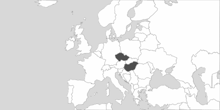 Map of Area Hungary & Czech Republic